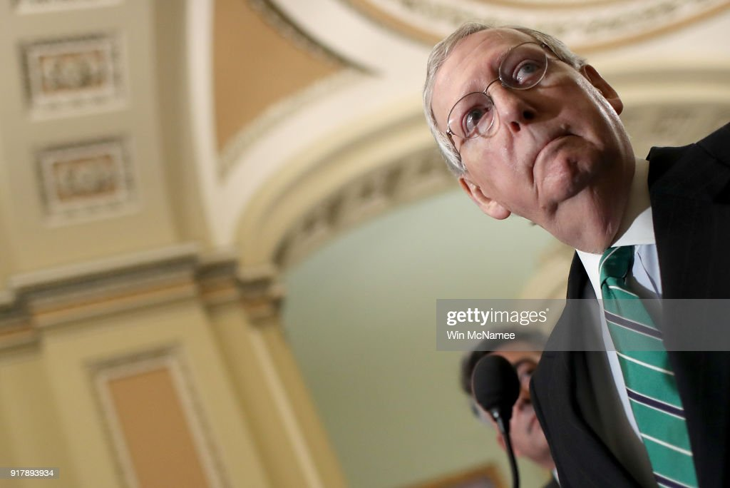 Senate Majority Leader Mitch McConnell (R-KY) answers questions following the weekly policy luncheons at the U.S. Capitol on February 13, 2018 in Washington, DC. McConnell answered a range of questions focused primarily on the immigration reform efforts in the U.S. Senate.