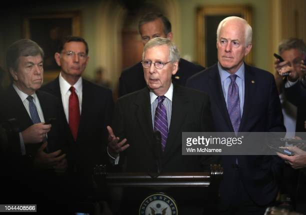 Senate Majority Leader Mitch McConnell answers questions from the press following the weekly Republican policy luncheon on September 25 2018 in...