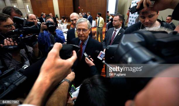 Senate Majority leader Mitch McConnell answers questions from the news media after he spoke to constituents on the latest legislative news at a...