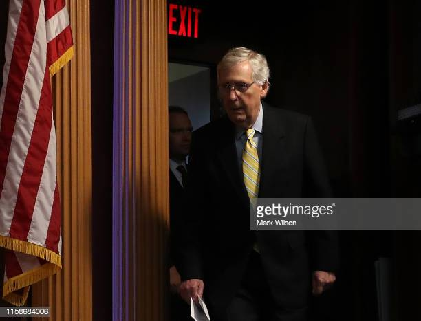 Senate Majority Leader Mitch McConnell arrives at a news conference on Capitol Hill June 27, 2019 in Washington, DC. McConnell spoke about today's...