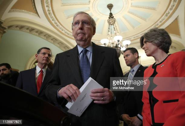 Senate Majority Leader Mitch McConnell arrives at a press conference at the US Capitol following the weekly Republican policy luncheon on January 29...
