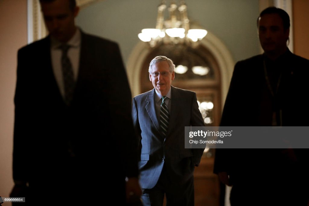 Senate Majority Leader Mitch McConnell (R-KY) arrives at the U.S. Capitol June 22, 2017 in Washington, DC. McConnell and fellow GOP senators will meet today to review a draft of proposed healthcare legislation that they say will be released to the public later in the day.