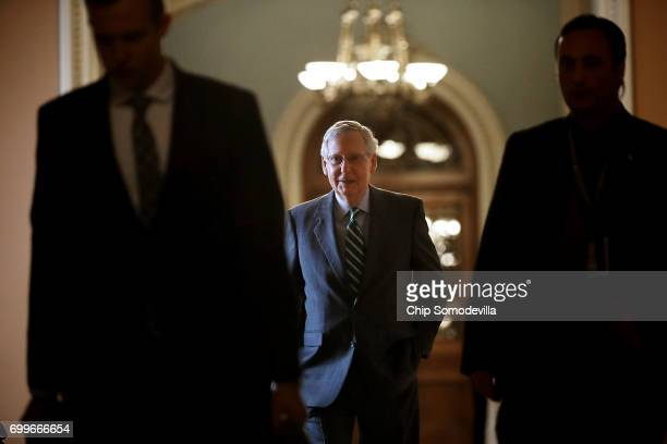 Senate Majority Leader Mitch McConnell arrives at the US Capitol June 22 2017 in Washington DC McConnell and fellow GOP senators will meet today to...