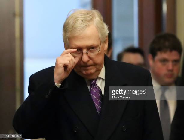 Senate Majority Leader Mitch McConnell arrives for the Senate impeachment trial at the US Capitol on January 29 2020 in Washington DC Wednesday...