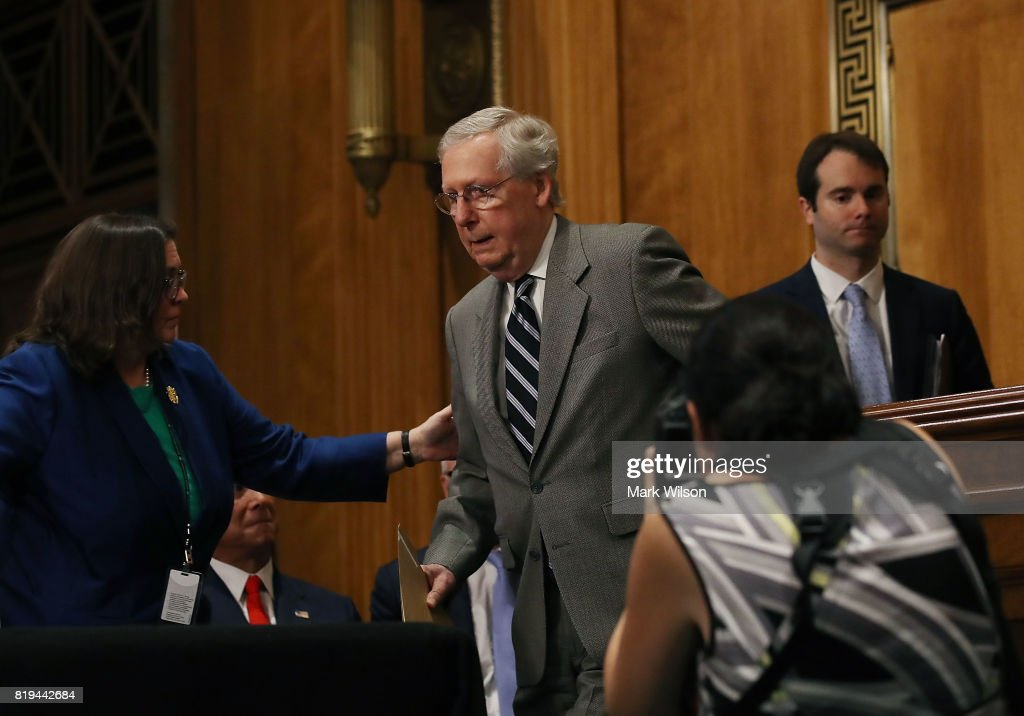 Senate Majority Leader Mitch McConnell (R-KY) attends a Foreign Relations Committee comfirmation hearing for ambassadorships, on Capitol Hill, June 20, 2017 in Washington, DC.