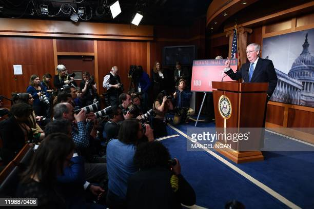 Senate Majority Leader Mitch McConnell delivers a press conference after the Senate impeachment vote on Capitol Hill in Washington, DC on February 5,...