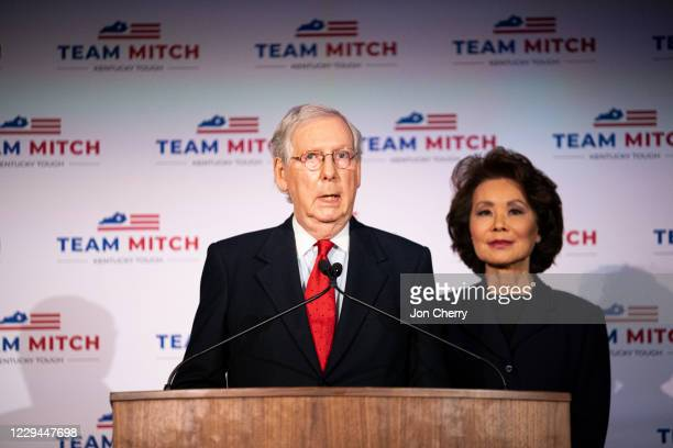 Senate Majority Leader Mitch McConnell , delivers his victory speech next to his wife, Elaine Chao, at the Omni Louisville Hotel on November 3, 2020...
