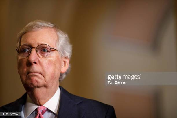 Senate Majority Leader Mitch McConnell delivers remarks during the Weekly Senate Policy Luncheon Press Conference on June 25, 2019 on Capitol Hill in...