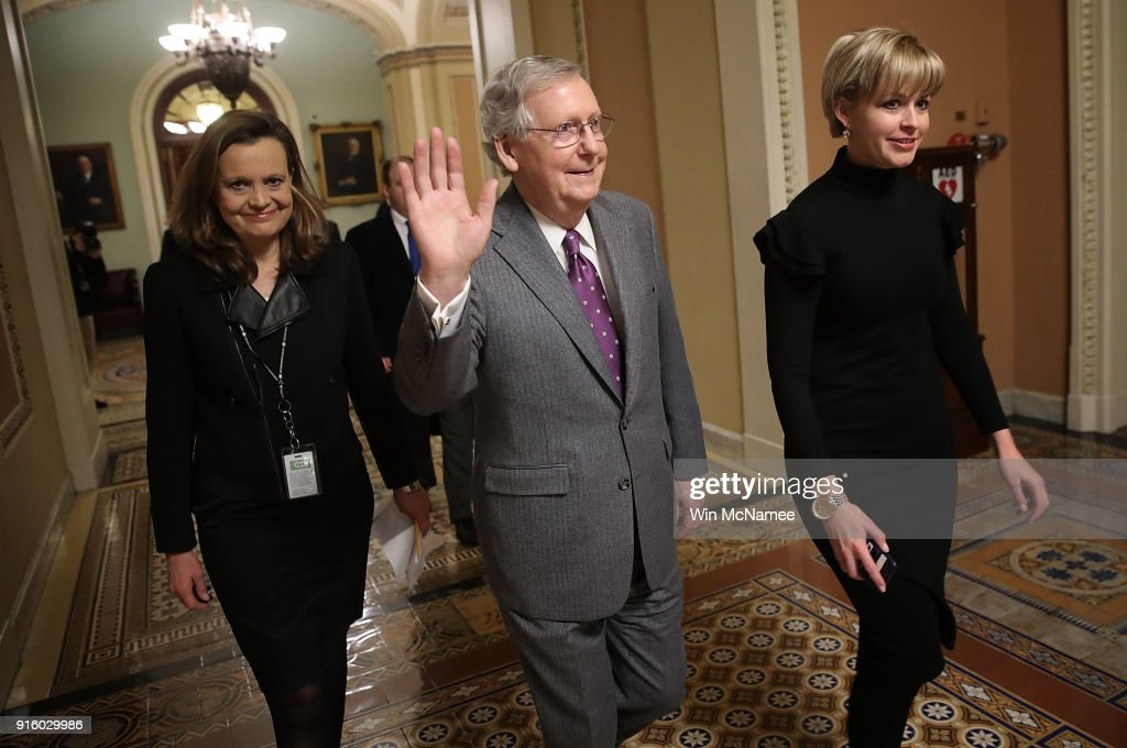 Senate Majority Leader Mitch McConnell (C) (R-KY) from the floor of the U.S. Senate after passage of a long term fudning bill February 9, 2018 in Washington, DC. After a delay caused by Sen. Rand Paul (R-KY), the Senate passed the legislation and the House of Representatives is expected to vote in the early morning following an agreement between Republican and Democratic leaders in the U.S. Senate.