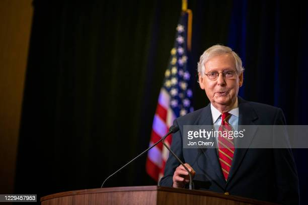 Senate Majority Leader Mitch McConnell gives election remarks at the Omni Louisville Hotel on November 4, 2020 in Louisville, Kentucky. McConnell has...