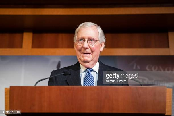 Senate Majority Leader Mitch McConnell holds a press conference after the Senate voted to acquit President Donald Trump on the two articles of...