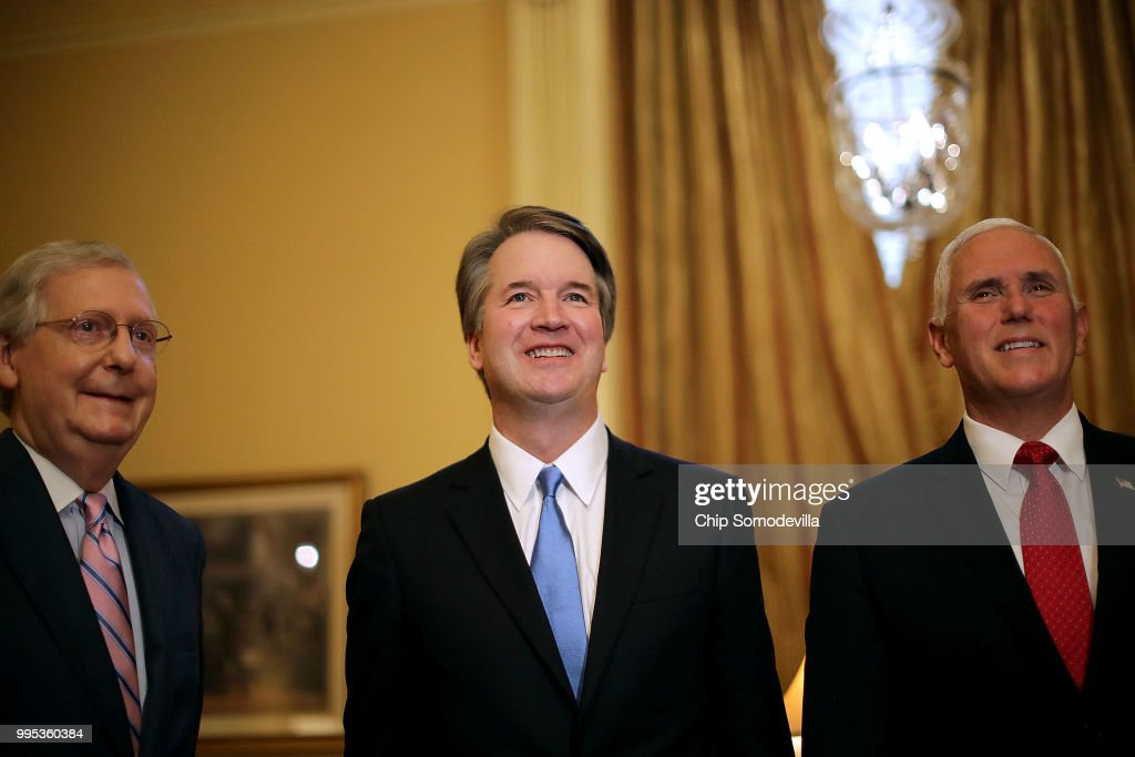 Supreme Court Nominee Brett Kavanaugh Meets With VP Pence And Sen. McConnell : News Photo