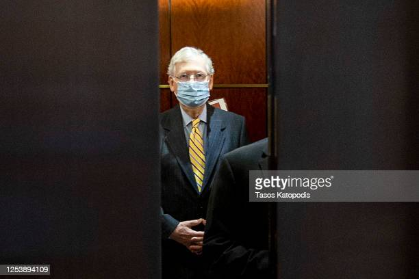 Senate Majority Leader Mitch McConnell leaves after a closed door briefing at the US Capitol on July 02, 2020 in Washington, DC.