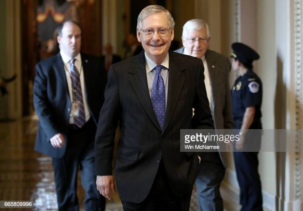 Senate Majority Leader Mitch McConnell leaves the floor of the Senate after Judge Neil Gorsuch was confirmed as the next member of the US Supreme...