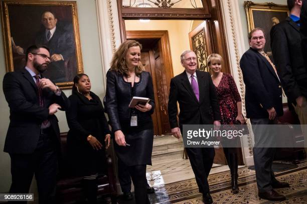 Senate Majority Leader Mitch McConnell leaves the Senate floor after the Senate passed a continuing resolution to fund the federal government Capitol...