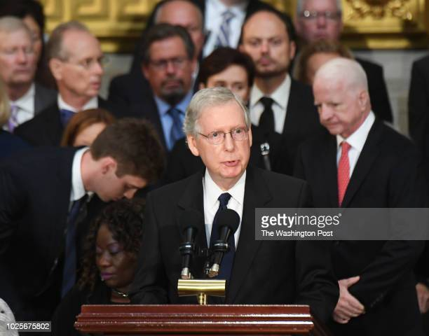 Senate majority leader Mitch McConnell makes remarks as the body of lateSen John S McCain lies in state during a ceremony to honor the sixterm...
