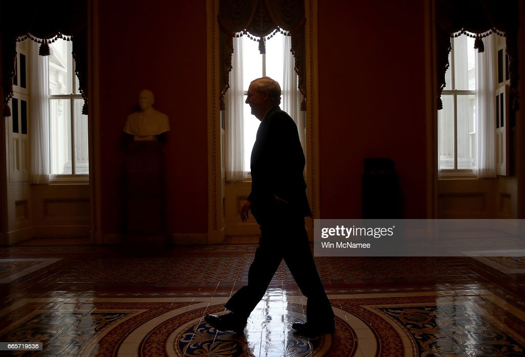 Senate Majority Leader Mitch McConnell (R-KY) returns to his office after speaking on the floor of the Senate April 7, 2017 in Washington, DC. The full Senate is expected to vote later today on the nomination of U.S.Supreme Court nominee Neil Gorsuch.
