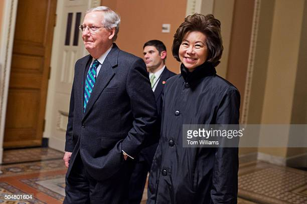Senate Majority Leader Mitch McConnell RKy and his wife Elaine Chao former Secretary of Labor are pictured in the Capitol before President Obama's...