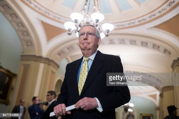 Senate Majority Leader Mitch McConnell RKy arrives for a news conference after the Senate Policy luncheons in the Capitol on April 17 2018