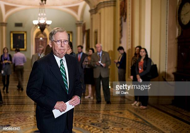 Senate Majority Leader Mitch McConnell RKy arrives to hold a media availability in the US Capitol with Republican members of the Senate Veterans'...