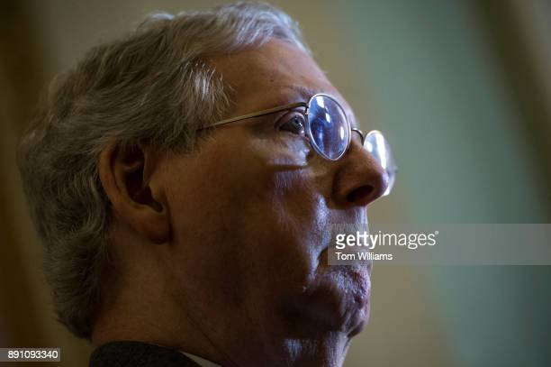 Senate Majority Leader Mitch McConnell RKy conducts a news conference after the Senate Policy luncheons in the Capitol on December 12 2017