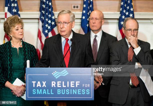 Senate Majority Leader Mitch McConnell RKy flanked by Small Business Administration Administrator Linda McMahon left and Sen Jim Risch RIdaho speaks...
