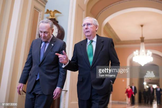 Senate Majority Leader Mitch McConnell RKy right and Senate Minority Leader Charles Schumer DNY make their way to the Senate floor after announcing a...