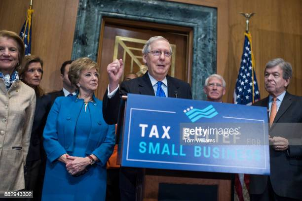 Senate Majority Leader Mitch McConnell RKy speaks during a news conference in Dirksen Building on the importance of passing the tax reform bill for...