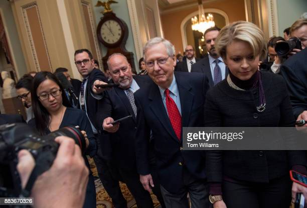 Senate Majority Leader Mitch McConnell RKy walks to the Senate floor after saying to the media that Republicans have the votes to pass the tax reform...