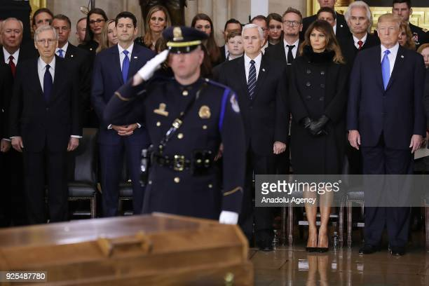 Senate Majority Leader Mitch McConnell Speaker of the House Paul Ryan Vice President Mike Pence first lady Melania Trump and US President Donald...