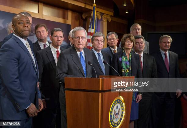 Senate Majority Leader Mitch McConnell speaks at the press conference after the senate vote of the tax reform bill on December 20 2017 in Washington...