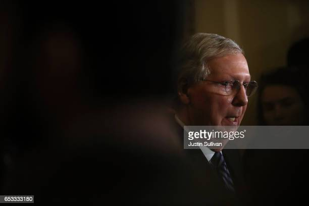 Senate Majority Leader Mitch McConnell speaks during a news conference on Capitol Hill on March 14 2017 in Washington DC Republican and Democratic...