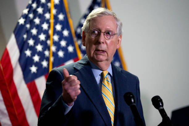 Senate Majority Leader Mitch McConnell speaks during a press conference following the weekly Senate Republican policy luncheon in the Hart Senate...