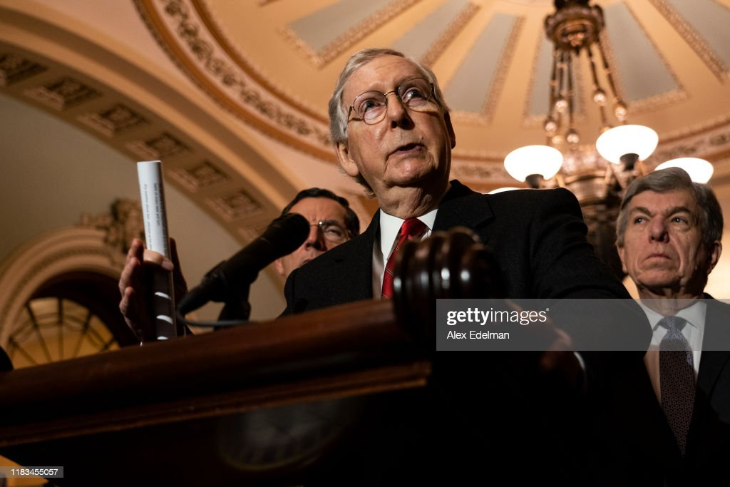 Senate Lawmakers Hold Press Briefing After Weekly Policy Luncheons : News Photo