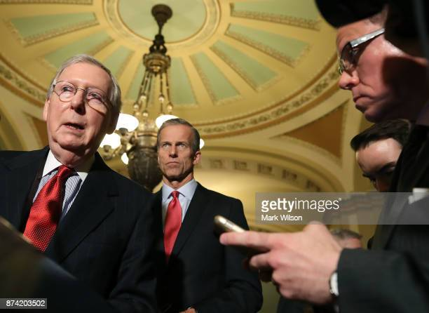 Senate Majority Leader Mitch McConnell speaks to reporters about the proposed Senate Republican tax bill after attending the Senate GOP policy...