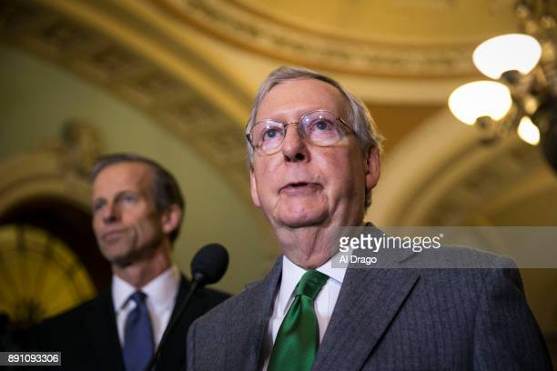 Senate Majority Leader Mitch McConnell speaks to reporters about the Alabama Senate race during a news conference on Capitol Hill December 12 2017 in...