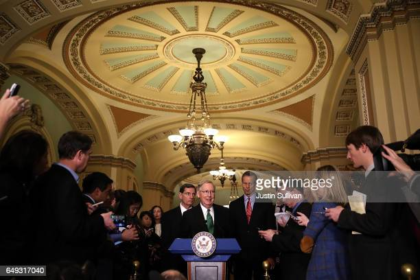 Senate Majority Leader Mitch McConnell speaks to reporters during a news conference on Capitol Hill following a policy lunch on March 7, 2017 in...
