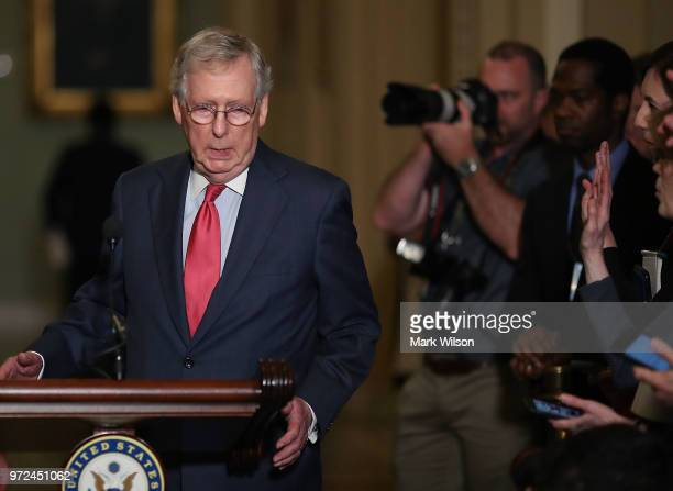 Senate Majority Leader Mitch McConnell speaks to the media after attending a Senate Republican policy luncheon on June 12 2018 in Washington DC...