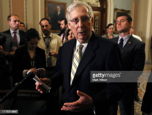 Senate Majority Leader Mitch McConnell speaks to the media after attending the Republican weekly policy luncheon on Capitol Hill September 17 2019 in...
