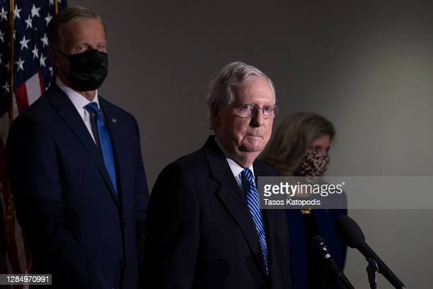 Senate Majority Leader Mitch McConnell speaks to the media after the weekly policy luncheons at the US Capitol on November 10, 2020 in Washington, DC.