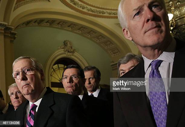 Senate Majority Leader Mitch McConnell speaks to the media after the Republican policy luncheon at the US Capitol January 7 2015 in Washington DC...