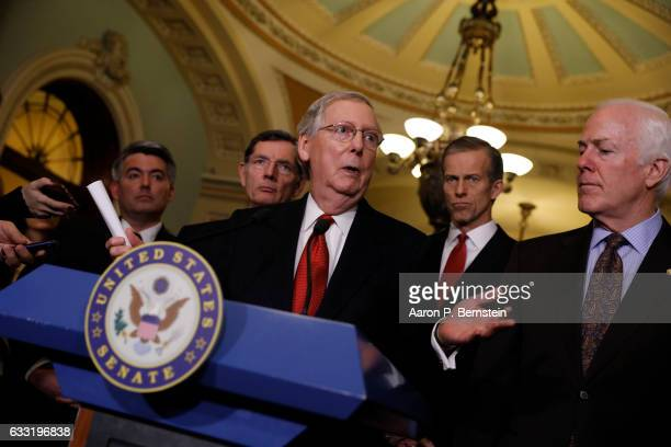 Senate Majority Leader Mitch McConnell speaks with the media at the US Capitol January 31 2017 in Washington DC McConnell addressed concerns about...