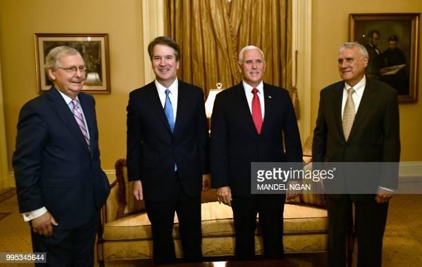US Senate Majority Leader Mitch McConnell Supreme Court associate justice nominee Brett Kavanaugh US Vice President Mike Pence and former US Senator...