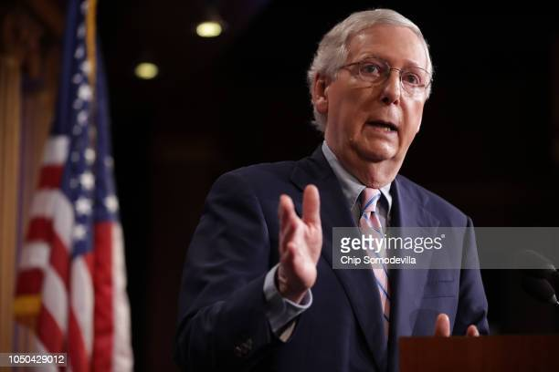 Senate Majority Leader Mitch McConnell talks to reporters after the Senate voted to confirm Supreme Court nominee Judge Brett Kavanaugh at the U.S....