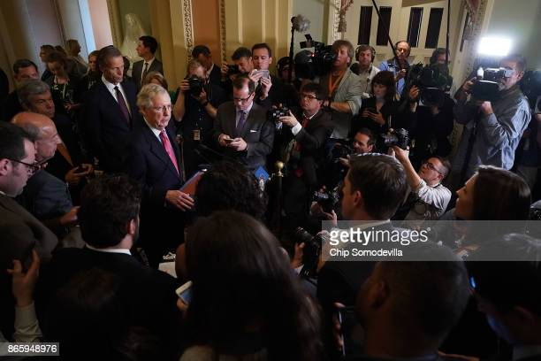 Senate Majority Leader Mitch McConnell talks to reporters following the weekly Republican policy luncheon at the US Capitol October 24 2017 in...