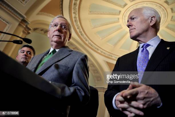 Senate majority Leader Mitch McConnell talks to reporters with Sen Cory Gardner and Majority Whip John Cornyn following the weekly Republican policy...
