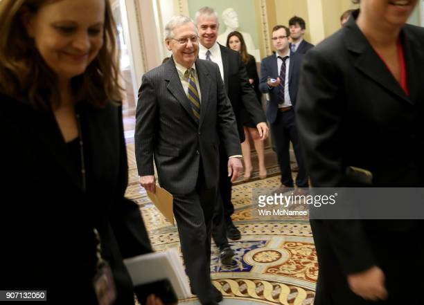Senate Majority Leader Mitch McConnell walks from his office to the floor of the US Senate to make a brief speech on the looming government shutdown...