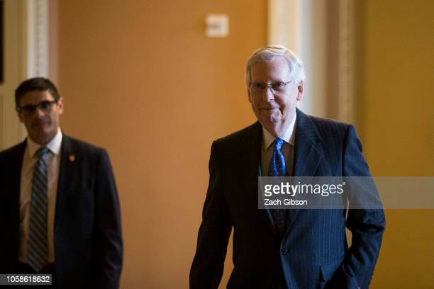 Senate Majority Leader Mitch McConnell walks to a news conference following the 2018 midterm elections at the Capitol Building on November 7 2018 in...