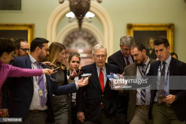 Senate Majority Leader Mitch McConnell walks to his office at the Capitol Building on January 2 2019 in Washington DC