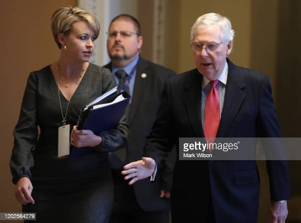 Senate Majority Leader Mitch McConnell walks to the Senate Chamber to attend President Donald Trumps Senate impeachment trial at the US Capitol on...